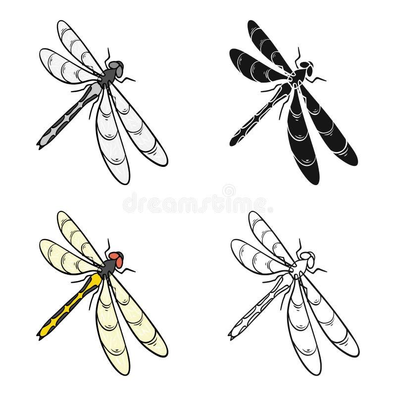 En slända, ett rov- kryp Symbol för ryggradslöst kryp för sländaflyg enkel i materiel för symbol för tecknad filmstilvektor royaltyfri illustrationer