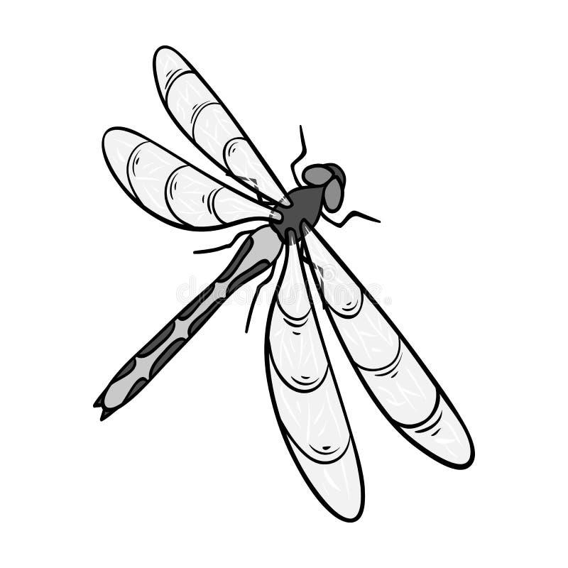 En slända, ett rov- kryp Symbol för ryggradslöst kryp för sländaflyg enkel i monokromt materiel för stilvektorsymbol royaltyfri illustrationer
