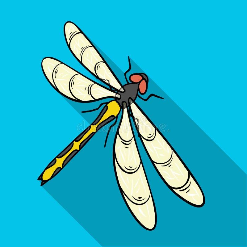 En slända, ett rov- kryp Symbol för ryggradslöst kryp för sländaflyg enkel i plant materiel för stilvektorsymbol vektor illustrationer