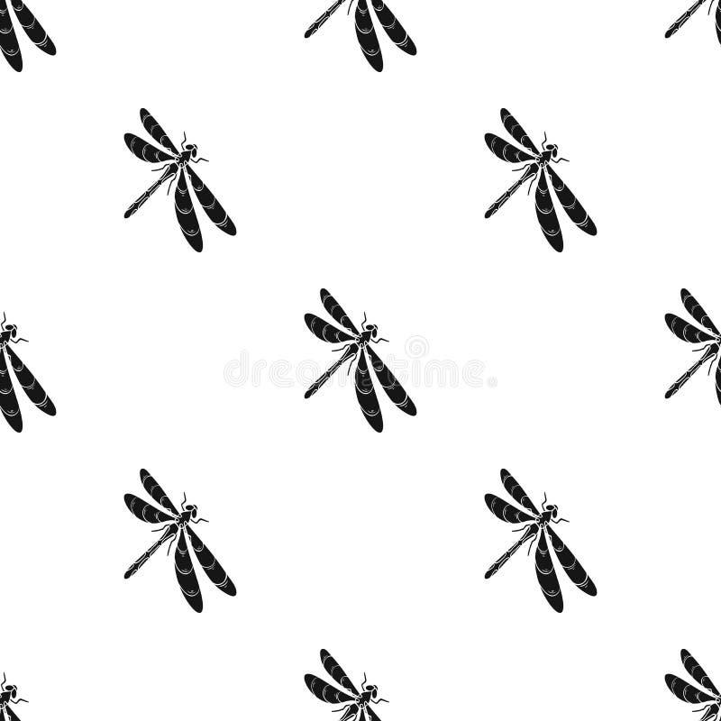 En slända, ett rov- kryp Symbol för ryggradslöst kryp för sländaflyg enkel i svart materiel för stilvektorsymbol stock illustrationer