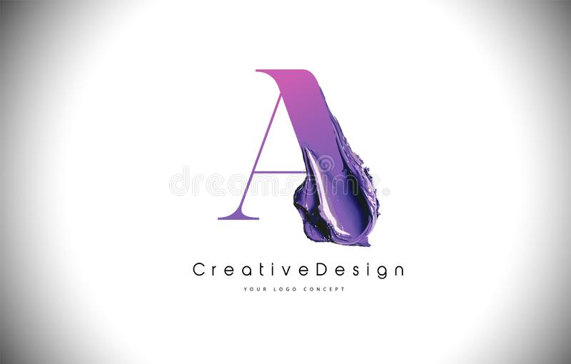 En slaglängd för målarfärg för borste för bokstavsdesign Purpurfärgad a-bokstav Logo Icon med Violet Paintbrush royaltyfri illustrationer