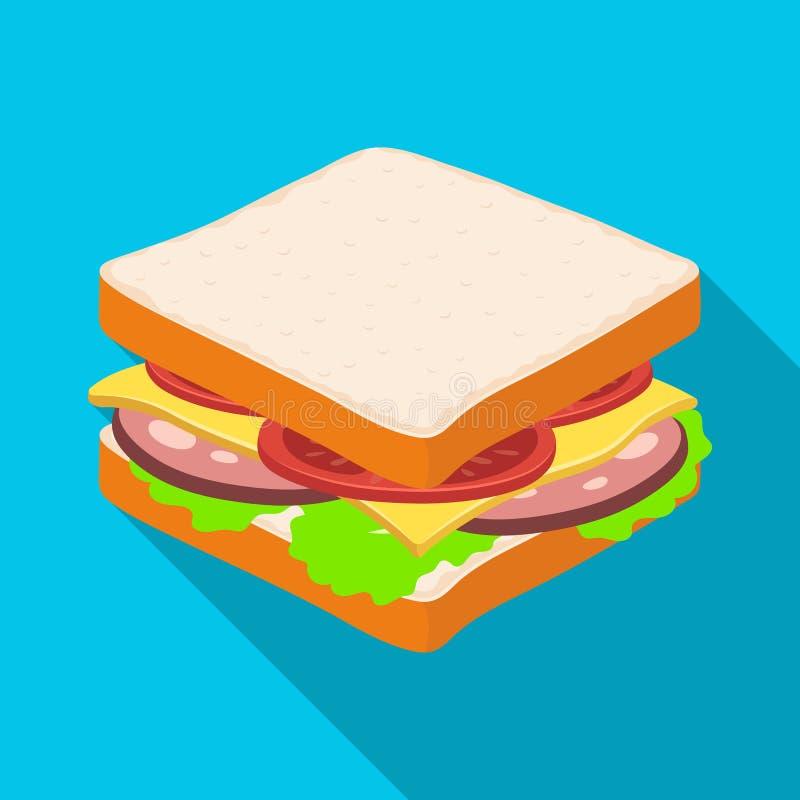 En smörgås med bröd och korven Lagerför den enkla symbolen för hamburgare och för ingredienser i plant stilvektorsymbol illustrat royaltyfri illustrationer