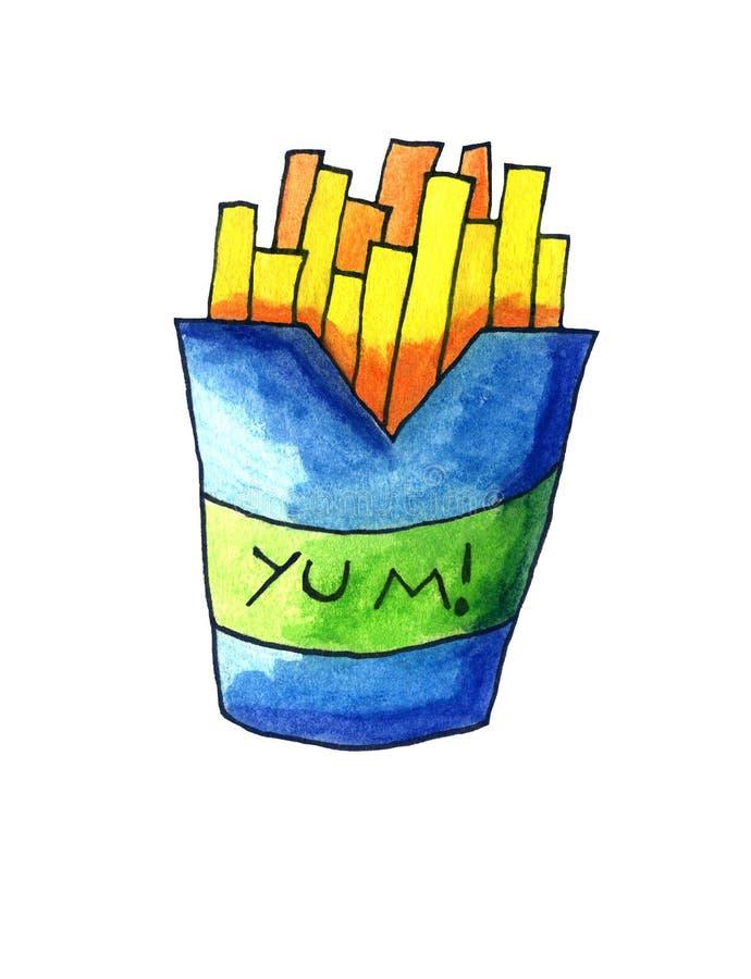 En smaskig vattenfärgpacke av pommes frites stock illustrationer