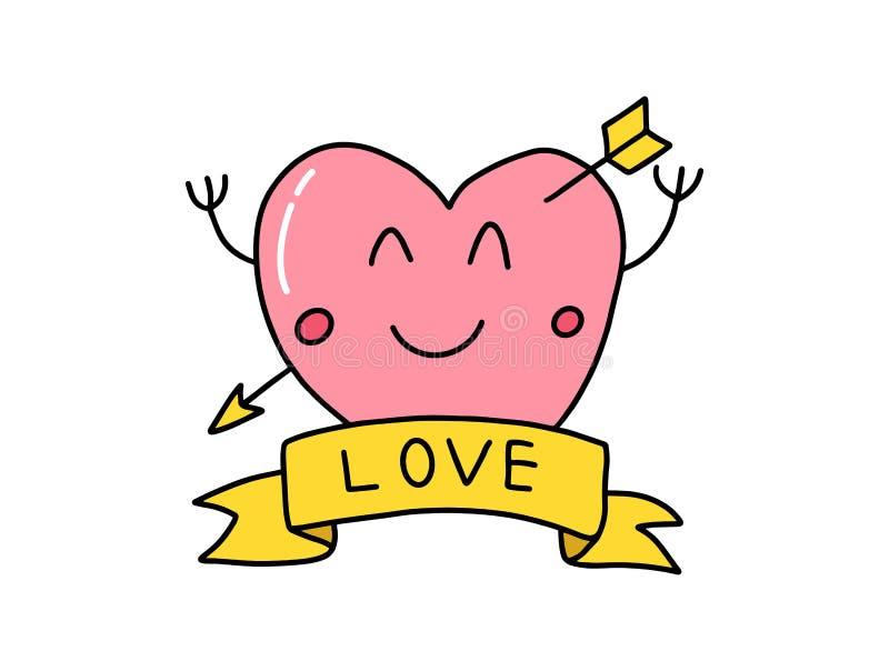En smiley förälskelsehjärtasymbol med det rosa färg- och förälskelsebanret eller emblem på botten med pilförälskelser för valenti royaltyfri illustrationer