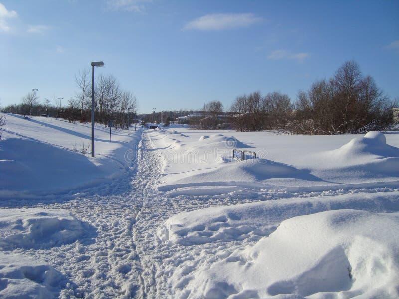 En snöig dag i Aalborg i Danmark royaltyfria bilder