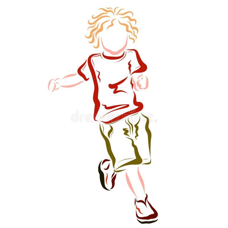 En snabb spring eller dans behandla som ett barn i färgrik kläder stock illustrationer