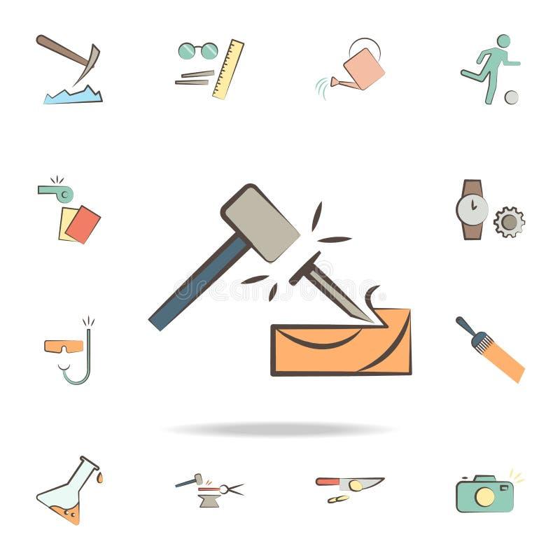 en snickare bearbetar symbolen Detaljerad uppsättning av hjälpmedel av olika yrkesymboler Högvärdig grafisk design En av samlings vektor illustrationer