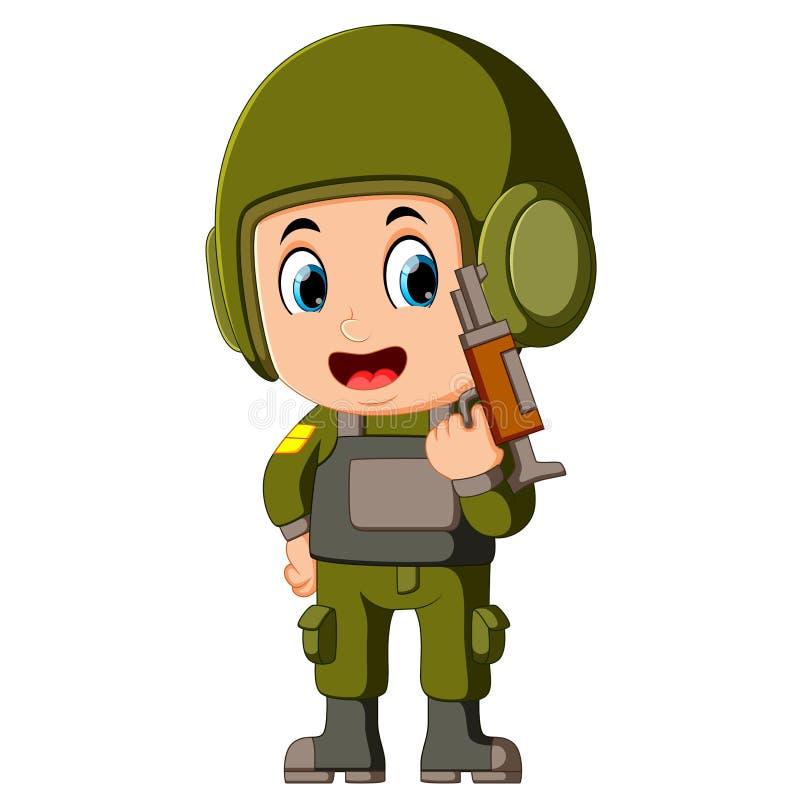 En soldat med ett vapen vektor illustrationer