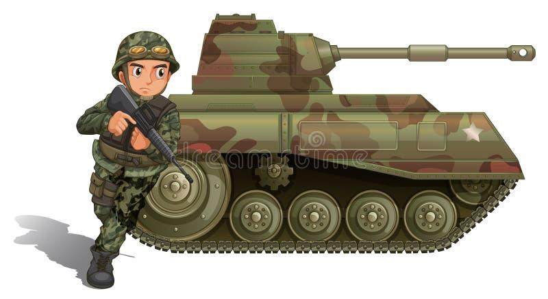 En soldat nära pansarbehållaren royaltyfri illustrationer