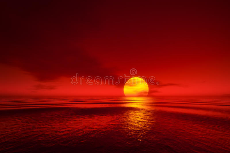 En solnedgång över havet royaltyfri illustrationer