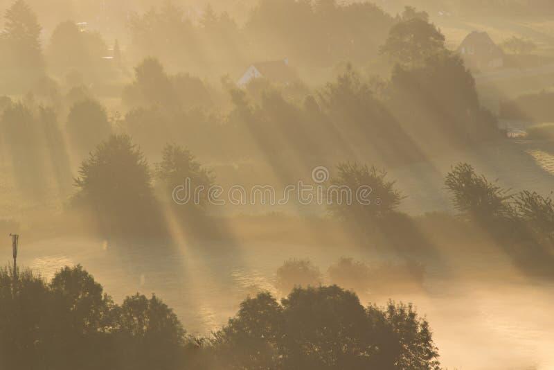 En soluppgång ovanför dimman royaltyfri foto