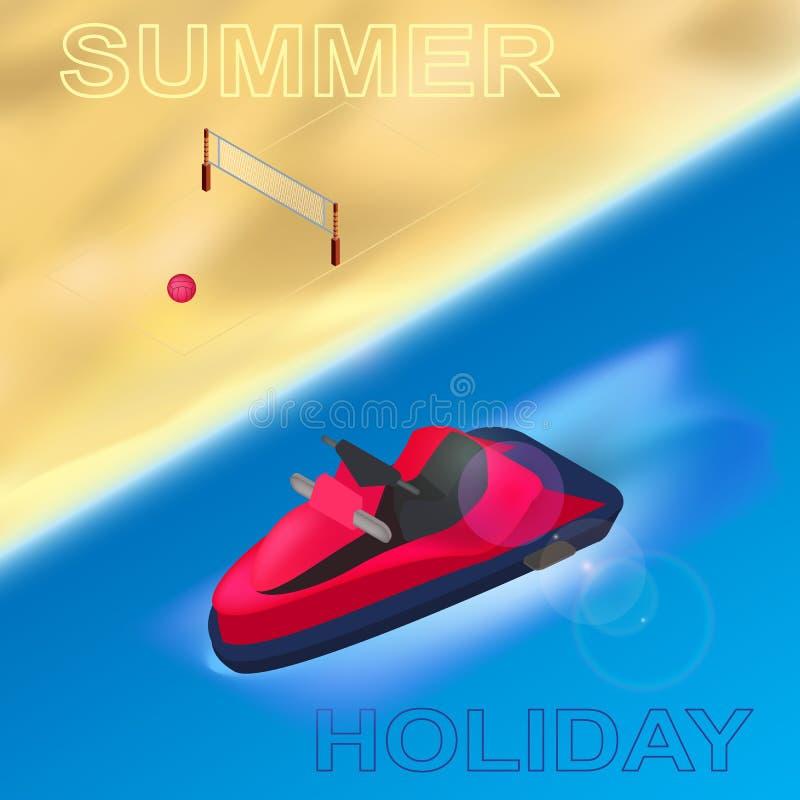 En sommarferie på stranden, havssportarna och gyckeln Isolerade beståndsdelar ljus bakgrund royaltyfri illustrationer