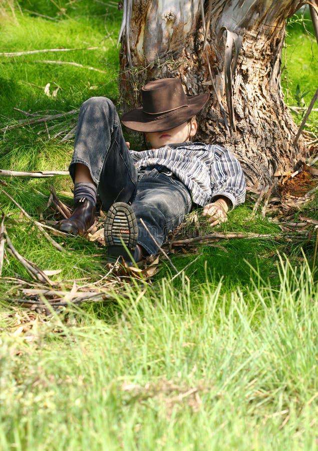 En sommeil sous un arbre de gomme photos stock
