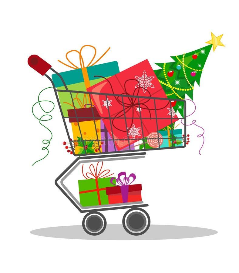 En spårvagn från en shoppa med julgåvor i stilen av en lägenhet royaltyfri illustrationer