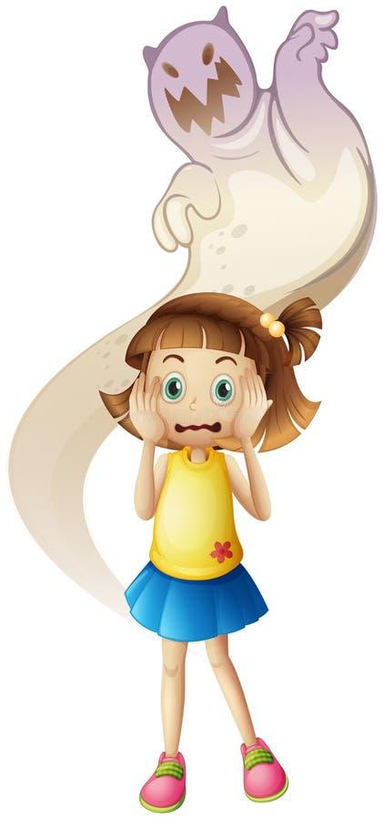 En spöke som skrämmer en ung flicka stock illustrationer