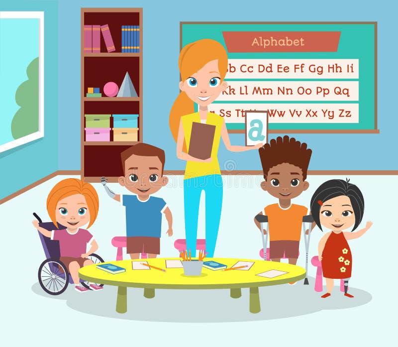 En special grupp av rörelsehindrade barn E vektor illustrationer