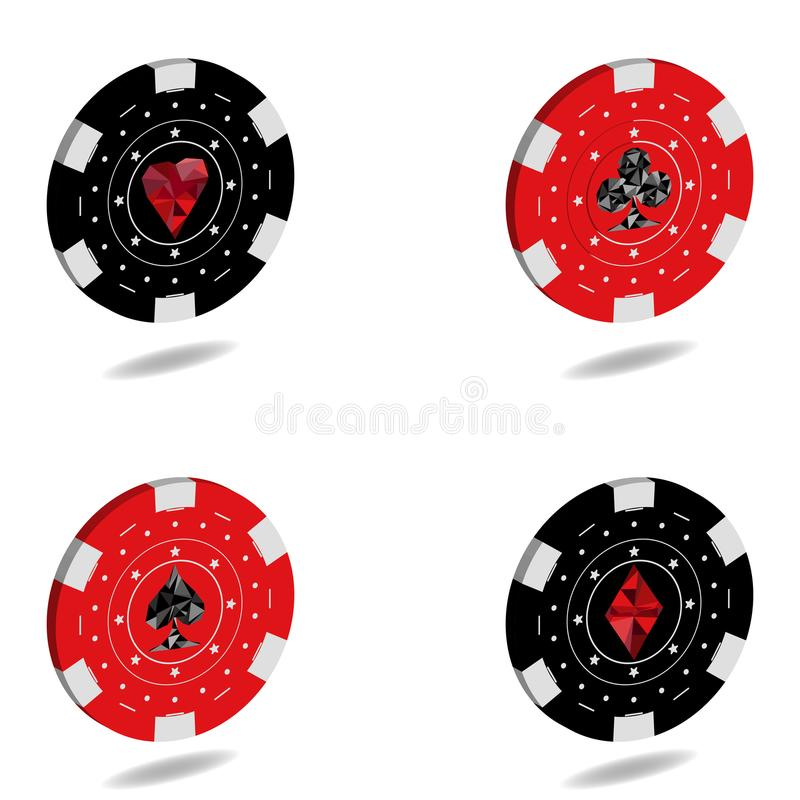 En specifik uppsättning av 3D gå i flisor för kasino och lekar av dobblerit in stock illustrationer