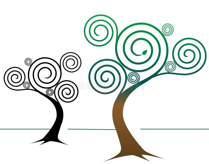 En spirale conceptions d'arbre illustration stock