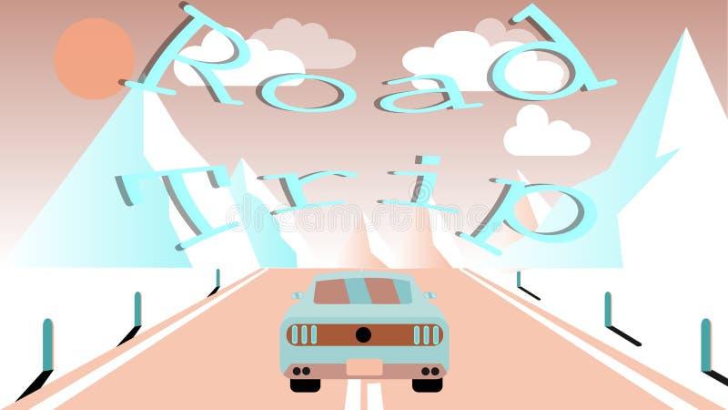 En sportbil rider längs en asfaltväg in i snöig berg Resa till bergen med bilen, lopp- och inskriftvägturen vektor illustrationer