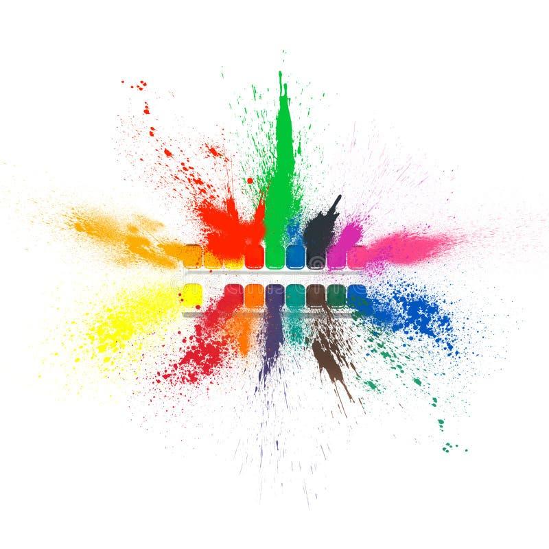 En sprej plaskar av kulöra målarfärger från en uppsättning för att dra Isolerad målarfärgexplosion stock illustrationer