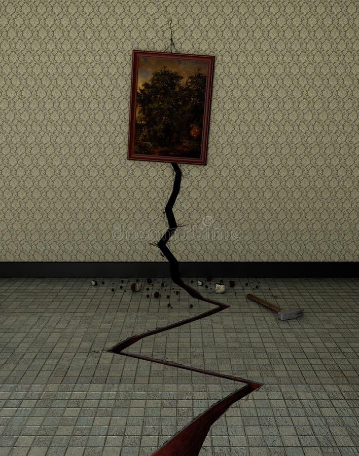 En spricka i väggen royaltyfri illustrationer