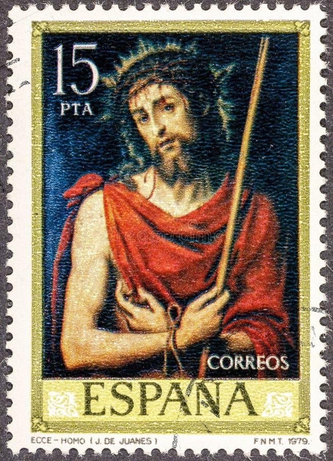 En stämpel som skrivs ut i Spanien, visar Ecce Homo vid Juan de Juanes royaltyfria bilder