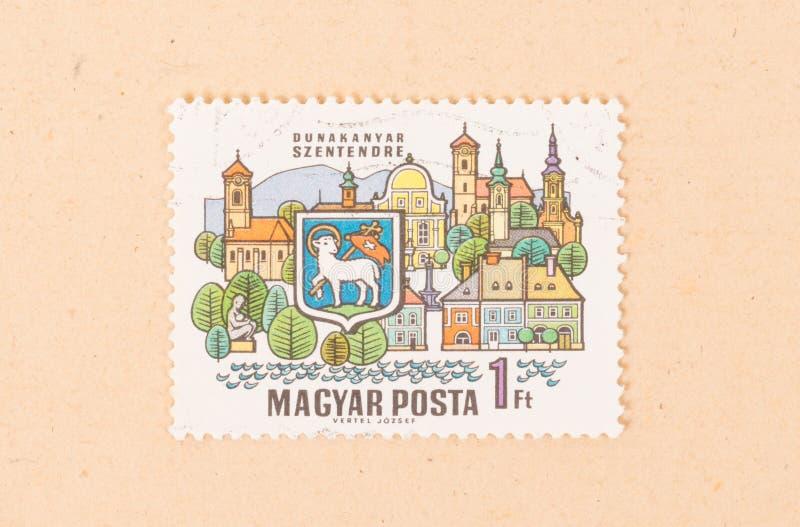 En stämpel som skrivs ut i Ungernshower Dunakanyar Szentendre, circa 1970 royaltyfria bilder