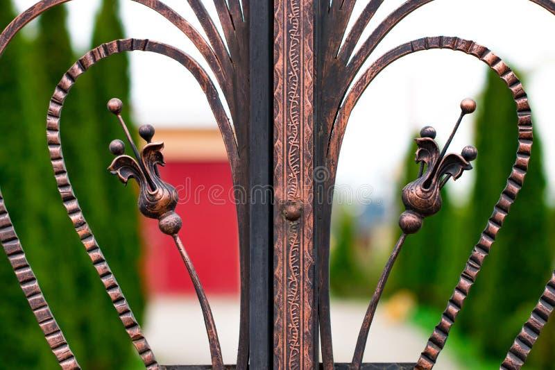 En stängd falsk metallport som ser på en trädgårds- bana royaltyfri bild