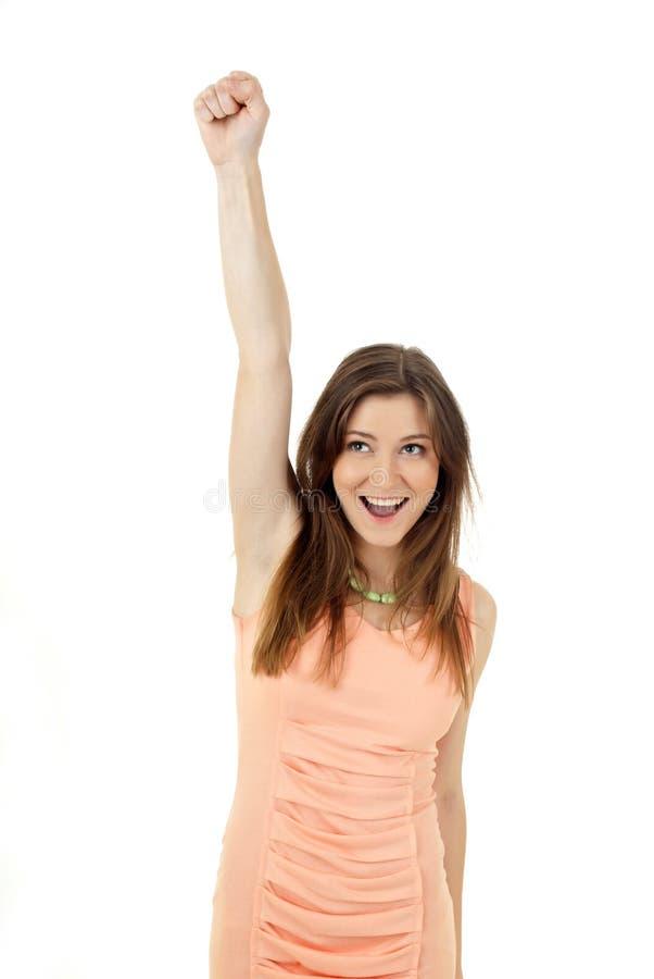 En stående av en lycklig ung kvinna arkivfoton