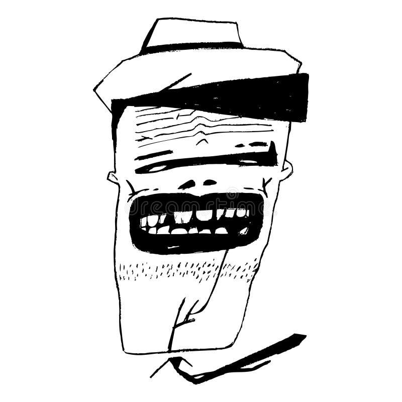 En stående av ett tecken i en hatt och ett tenn Du kan använda det för tidskrifter, affischer, baner, ungdomprodukter stock illustrationer