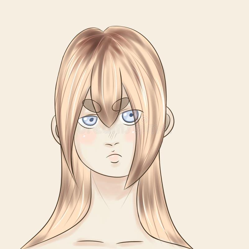 En stående av en flicka som dras i en animestil arkivbild