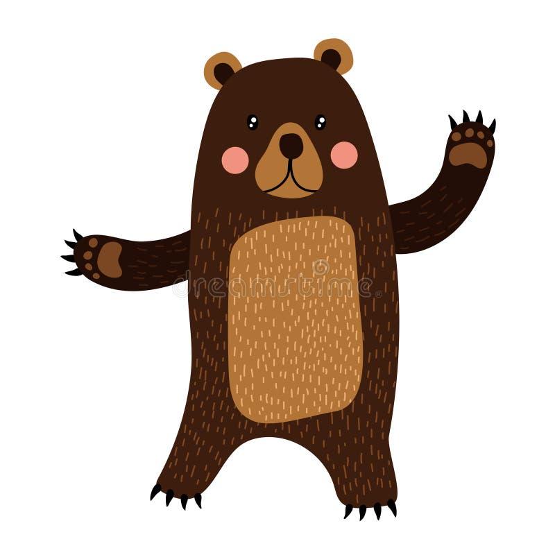 En stående björn som lyfter tecknad filmteckenet för två händer stock illustrationer