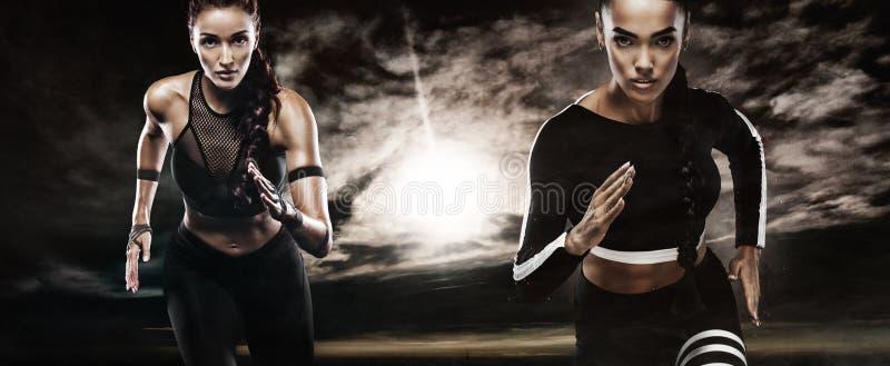 En stark idrotts-, kvinnasprinter, körande utomhus- bära i den sportswear-, kondition- och sportmotivationen löpare arkivfoto
