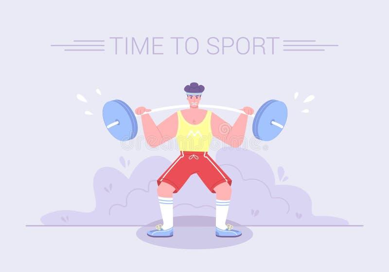 En stark spänd idrottsman nen lyfter en tung barb royaltyfri illustrationer