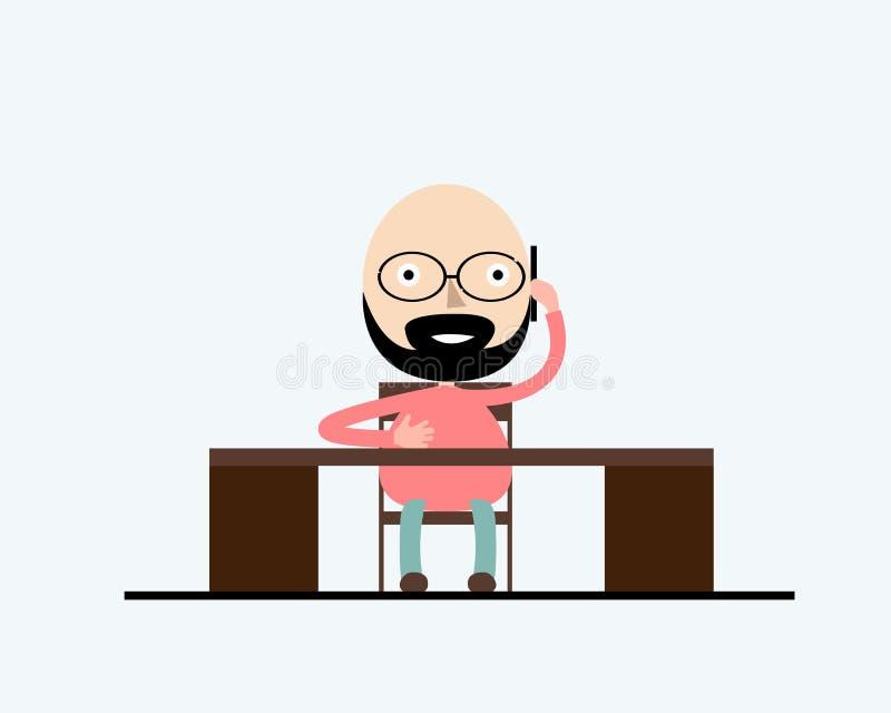 En stilfull man som sitter på tabellen i oficen och arbeta Vektorillustration, moderiktig stil, plan design vektor illustrationer