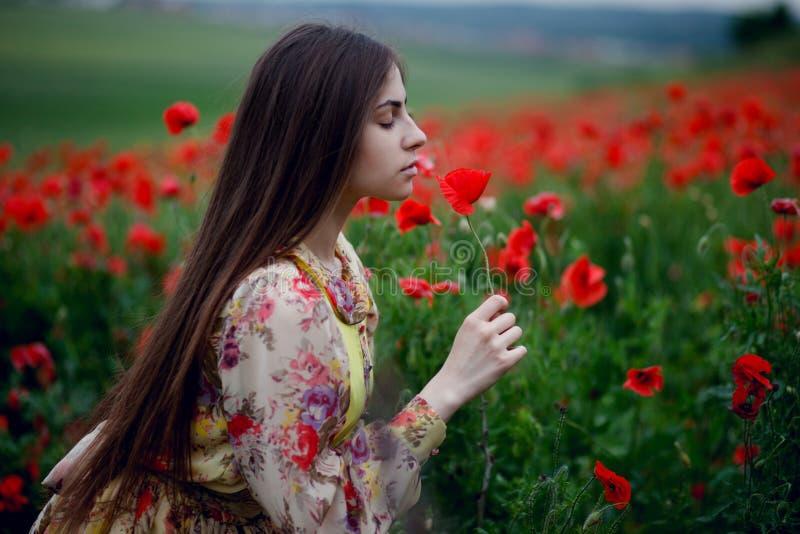En stilig flicka med långt hår och naturlig hud som står i ett fält av röda vallmo och rymmer en röd vallmo i händer arkivbild