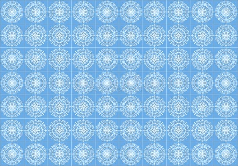 En stiliserad vit prydnad på en blå tegelplatta för golvet royaltyfri illustrationer