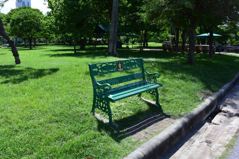 En stol i gräsplanträdgård royaltyfria bilder