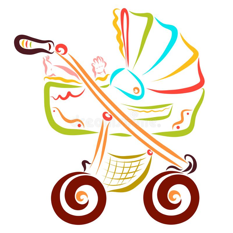 En stor färgrik barnvagn och behandla som ett barn i den stock illustrationer