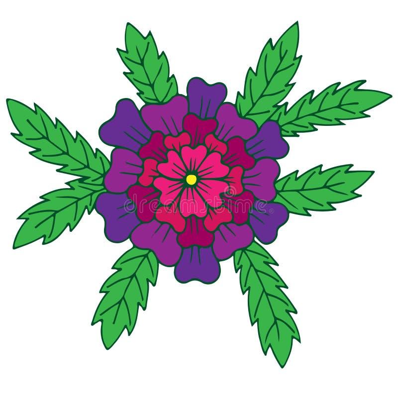 En stor färgrik blomma med sidor som isoleras på den vita backgren vektor illustrationer