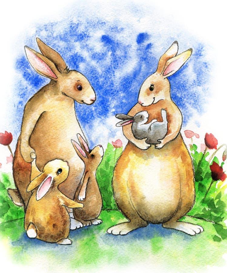 En stor familj av kaniner står i en sommarglänta Mamman rymmer den nyfödda kaninen i hennes armar Farsan med två äldre barn är vektor illustrationer