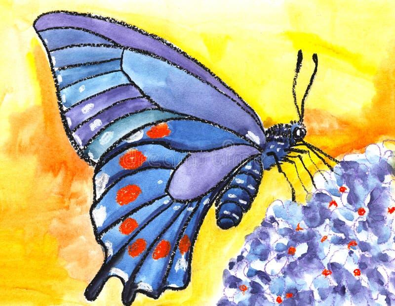 En stor fjäril med härliga blåa vingar med orange fläckar sitter på en blå blomma på en gul bakgrund stock illustrationer