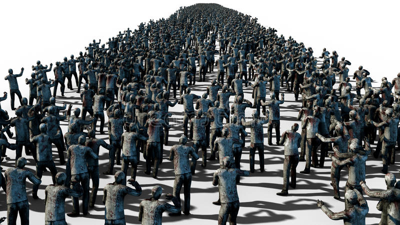En stor folkmassa av levande död Apokalyps halloween begrepp Isolat på vit framförande 3d vektor illustrationer