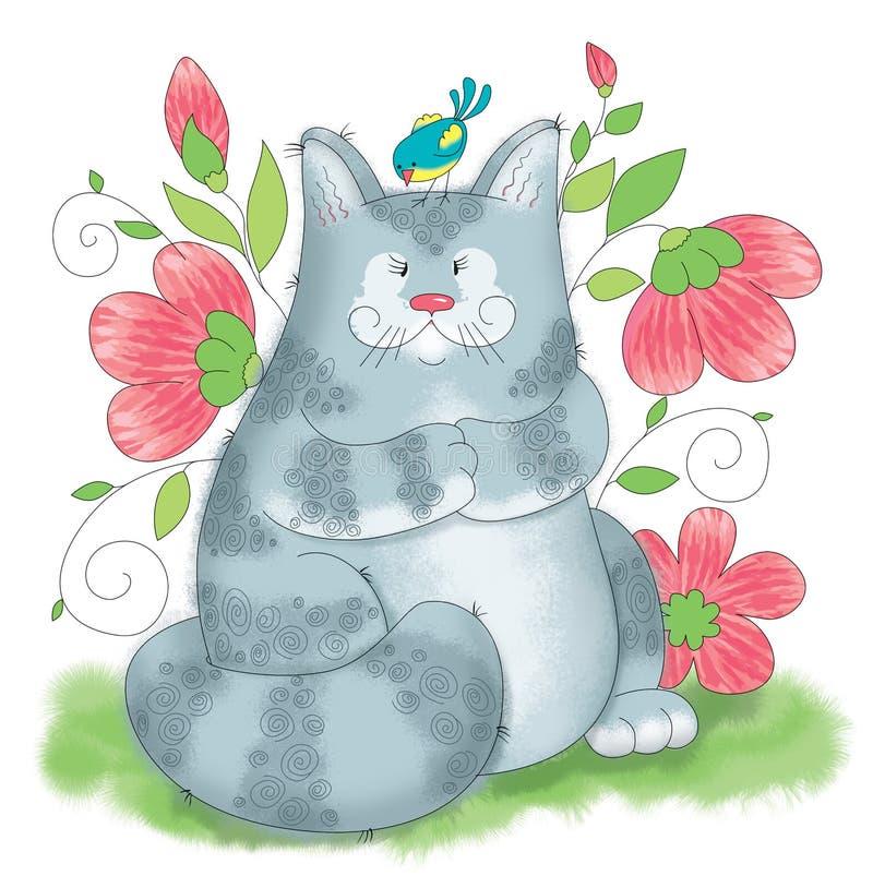 En stor grå katt som spelar med en fågel royaltyfria foton