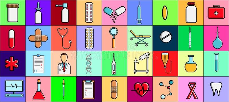 En stor h?rlig upps?ttning av medicinska objekt och hj?lpmedel apotek eller doktors kontor, minnestavlatermometrar spolar ren l?k stock illustrationer