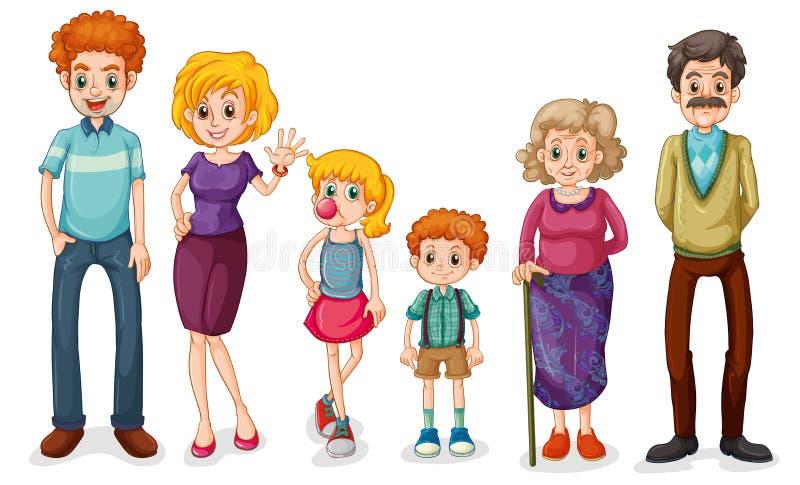 En stor lycklig familj royaltyfri illustrationer
