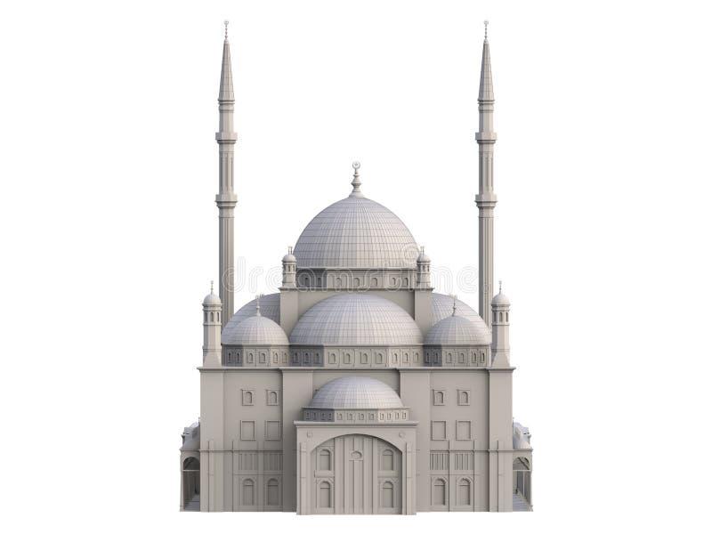 En stor muslimsk moské, en tredimensionell rasterillustration med konturlinjer som markerar detaljerna av konstruktion 3d ren royaltyfri bild