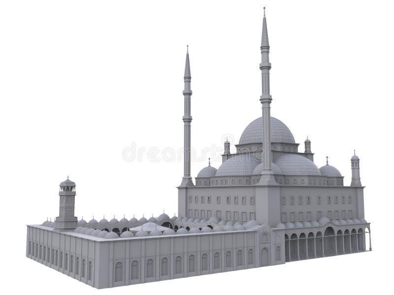 En stor muslimsk moské, en tredimensionell rasterillustration med konturlinjer som markerar detaljerna av konstruktion 3d ren stock illustrationer