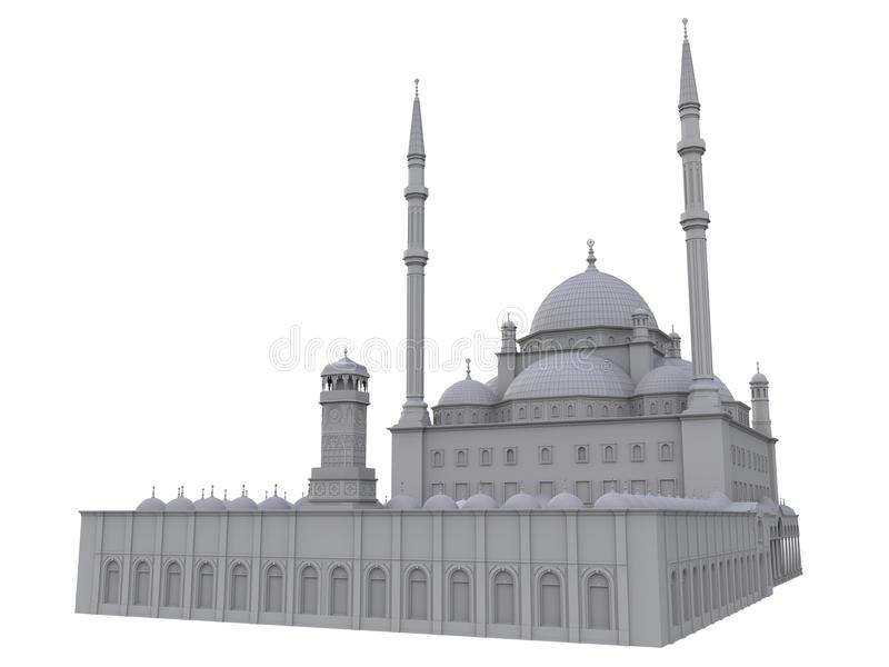 En stor muslimsk moské, en tredimensionell rasterillustration med konturlinjer som markerar detaljerna av konstruktion 3d ren royaltyfri illustrationer