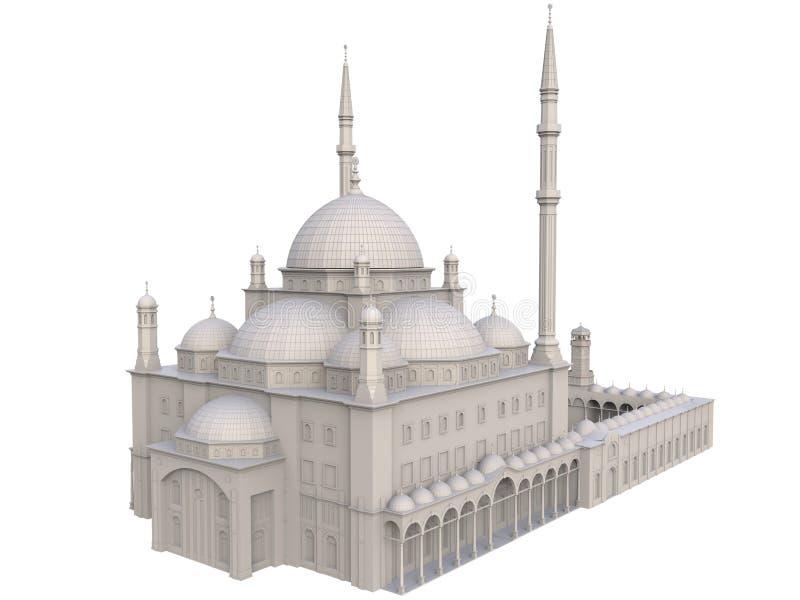 En stor muslimsk moské, en tredimensionell rasterillustration med konturlinjer som markerar detaljerna av konstruktion 3d ren vektor illustrationer